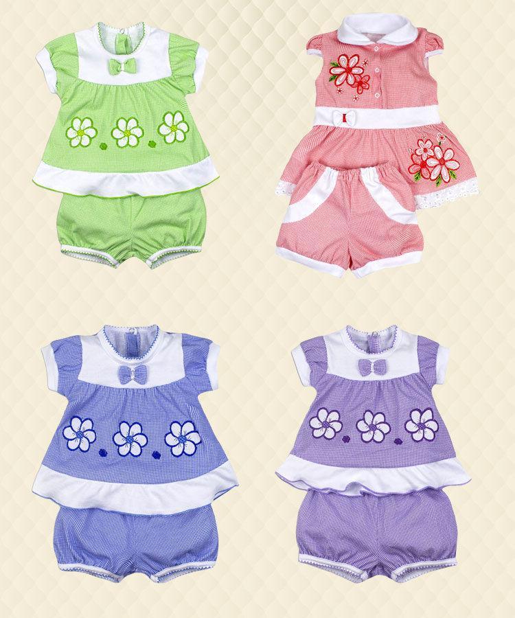 Комплект для девочки Цветочек вышивка кулир