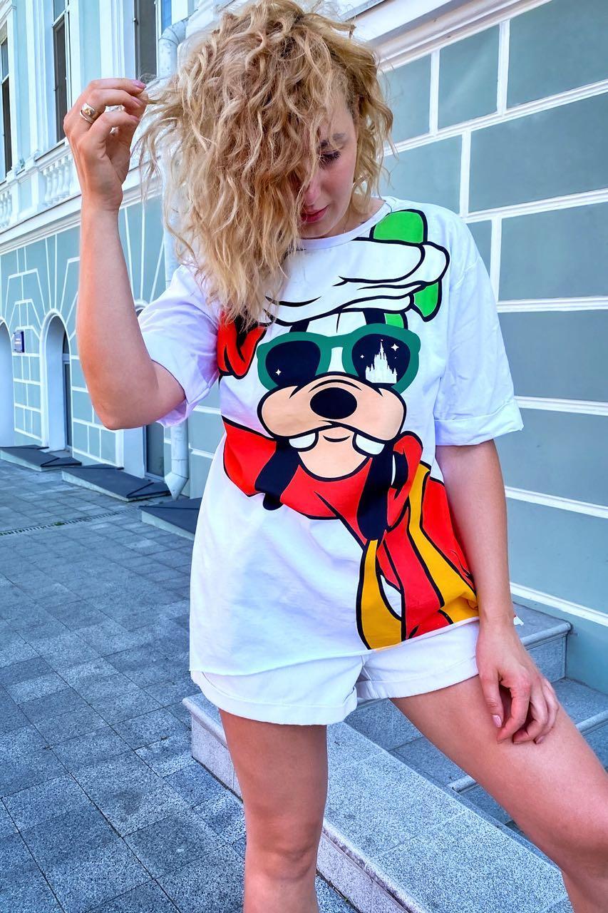 Модная футболка женская с принтом Гуффи  LUREX - белый цвет, L (есть размеры)