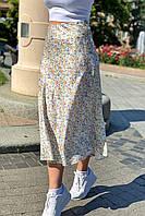 Атласная юбка миди с акварельным принтом  Crep - молочный цвет, S (есть размеры), фото 1