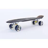 Penny board TRANSPARENT led wheels, черный со светящимися колесами