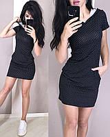 Модное спортивное платье с капюшоном в горошек, вискоза, 42/44/46/48/, белый/черный/темно-синий/