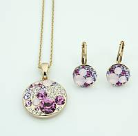 Гарнитур круглой формы с розовыми камнями  131 KH01  XG