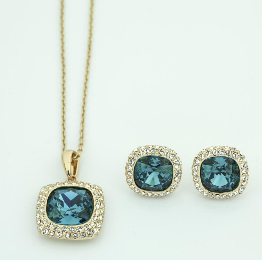 Гарнитур в квадратой форме с голубыми камнями 616 KH01  XA
