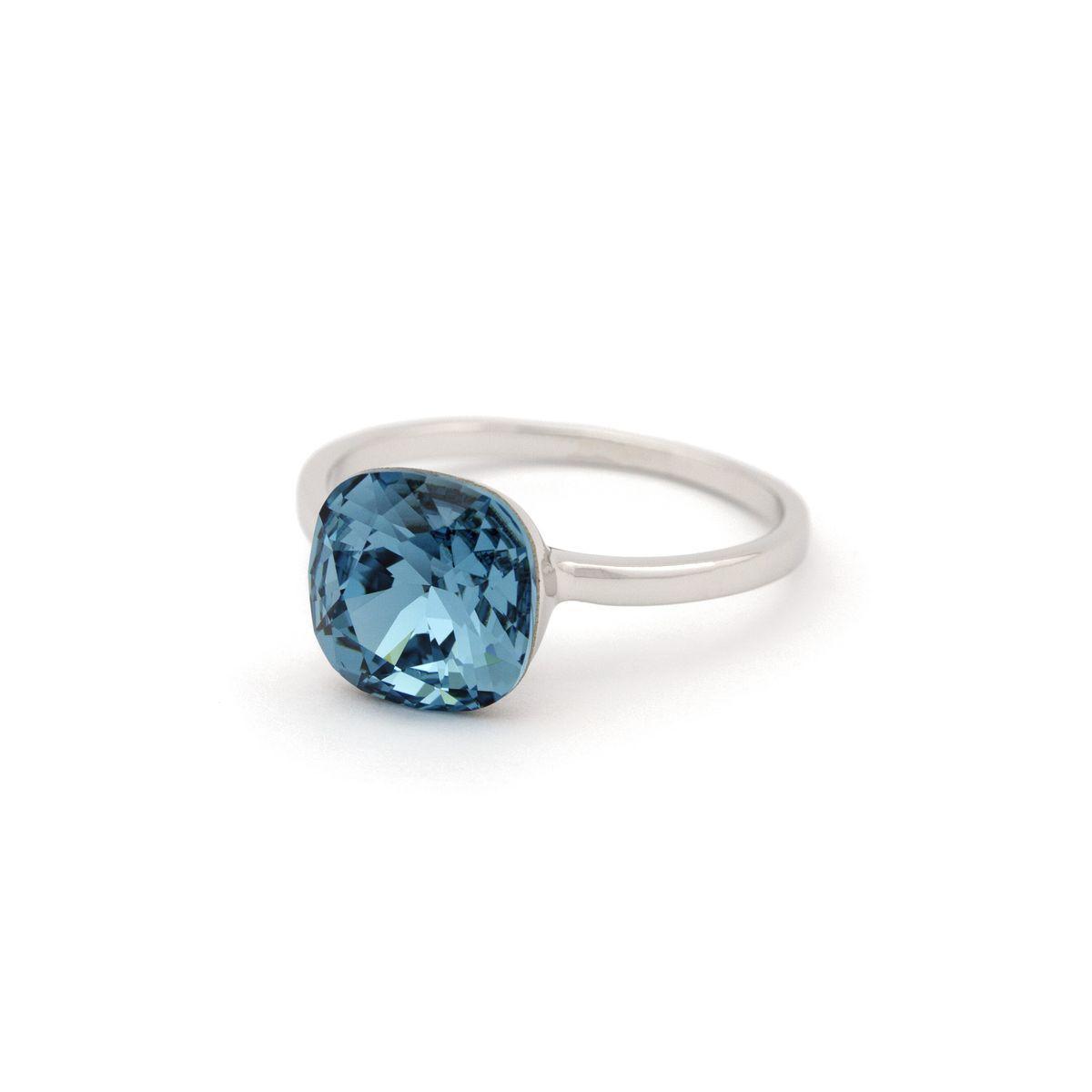 Кольцо c квадратным голубым камнем  KH01  AA