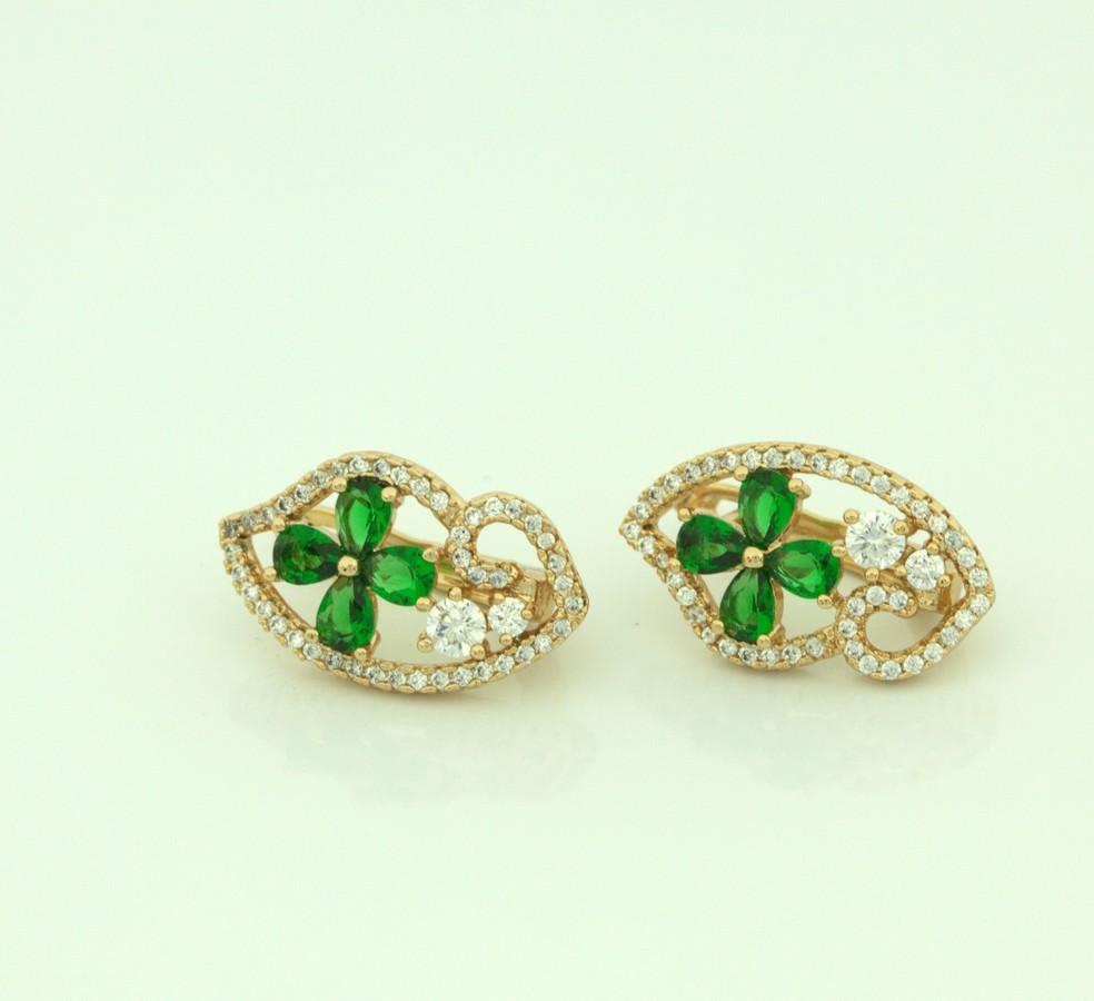 Серьги ажурные с зеленым цветком  91  5400