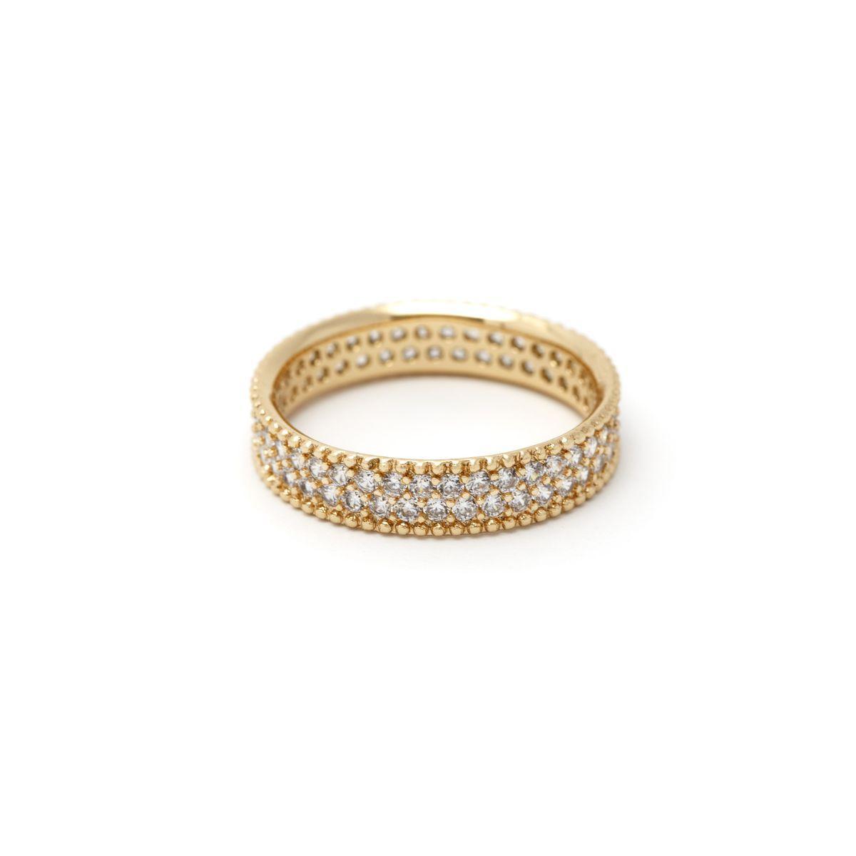 Кольцо классическое с двумя дорожками камней  73