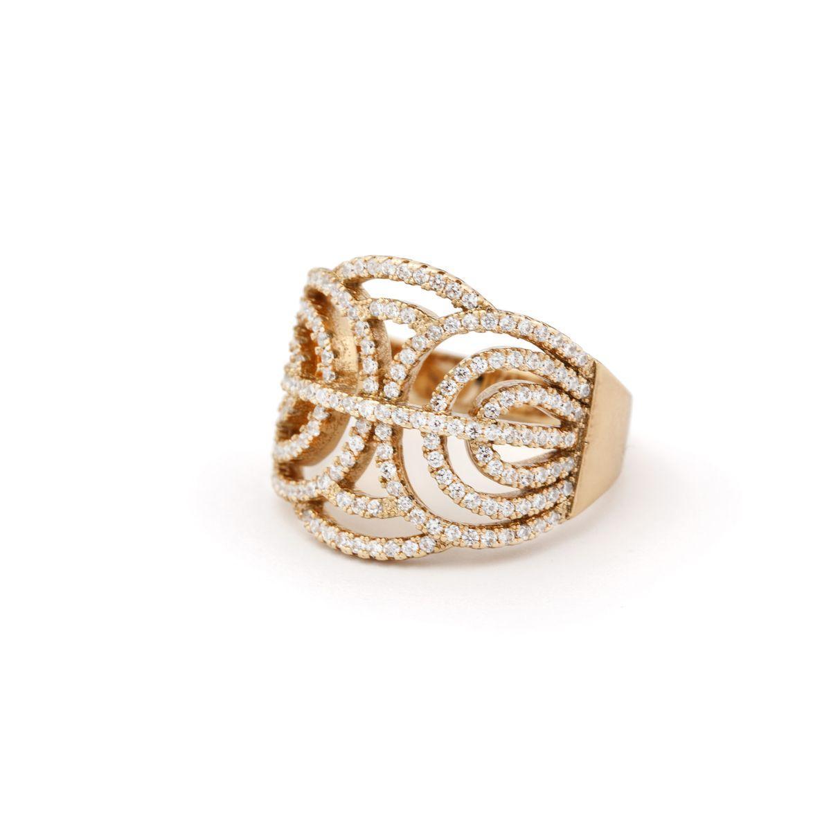 Кольцо ажурное с камнями 58