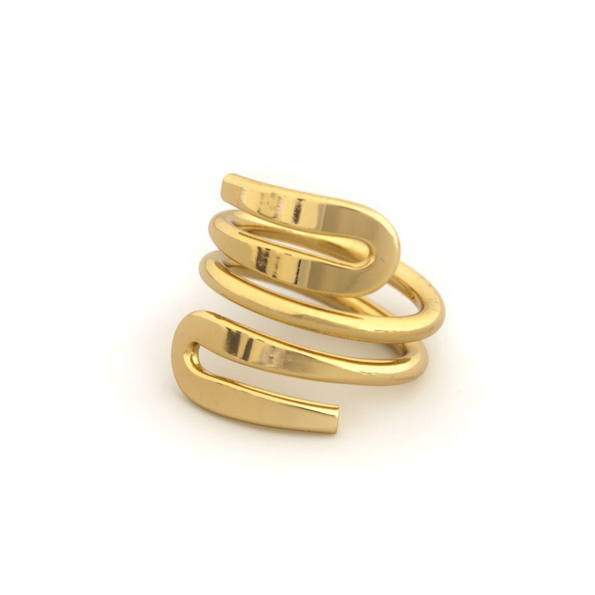 Кольцо зигзагоподобной формы без камней  71