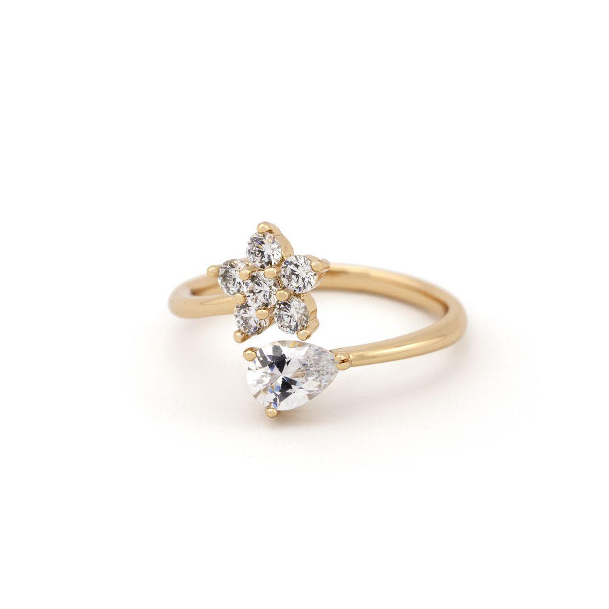 Кольцо с цветком 35 2800