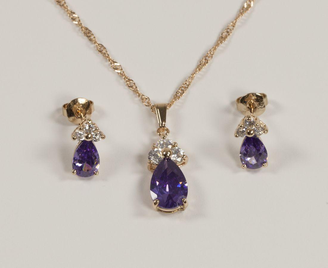 Гарнитур с фиолетовими камнями T 0281, N