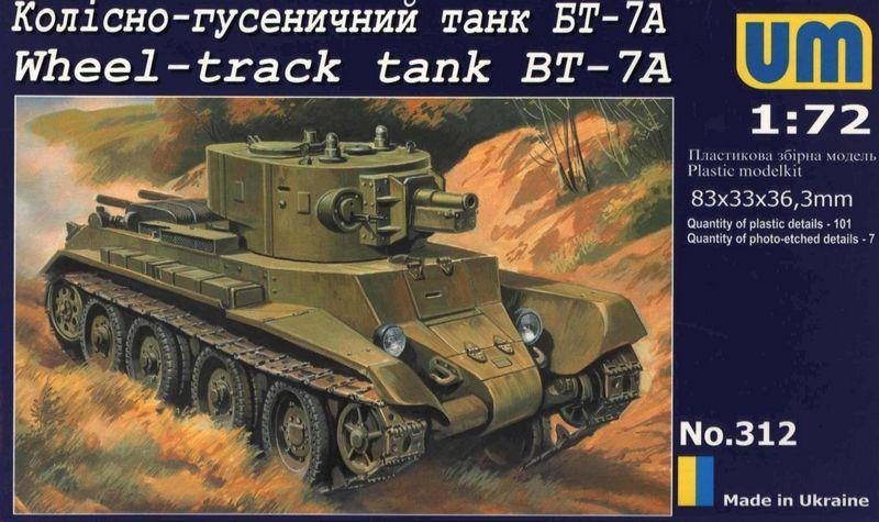 Колесно-гусеничный танк БТ-7А. Сборная модель в масштабе 1/72. UMT 312