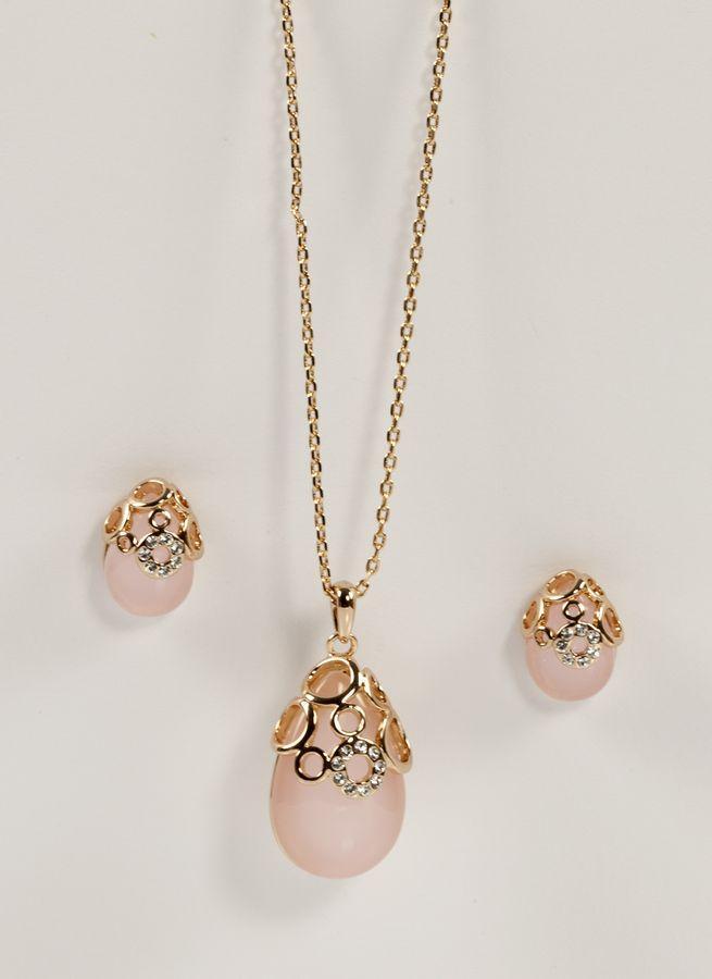Гарнитур с натуральным розовым кварцем 660 KH03  BB