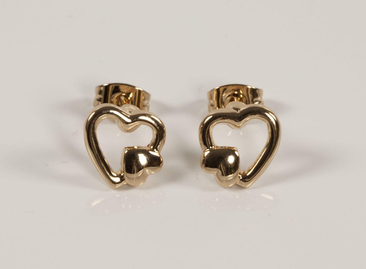 Серьги гвоздики сердца без камней  929 KH01  AA