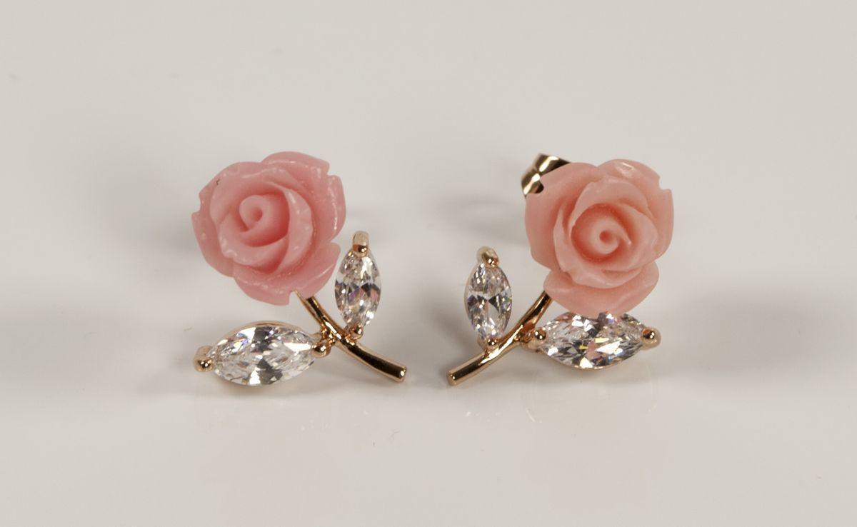 Серьги розовые розы  XK1502014  AD