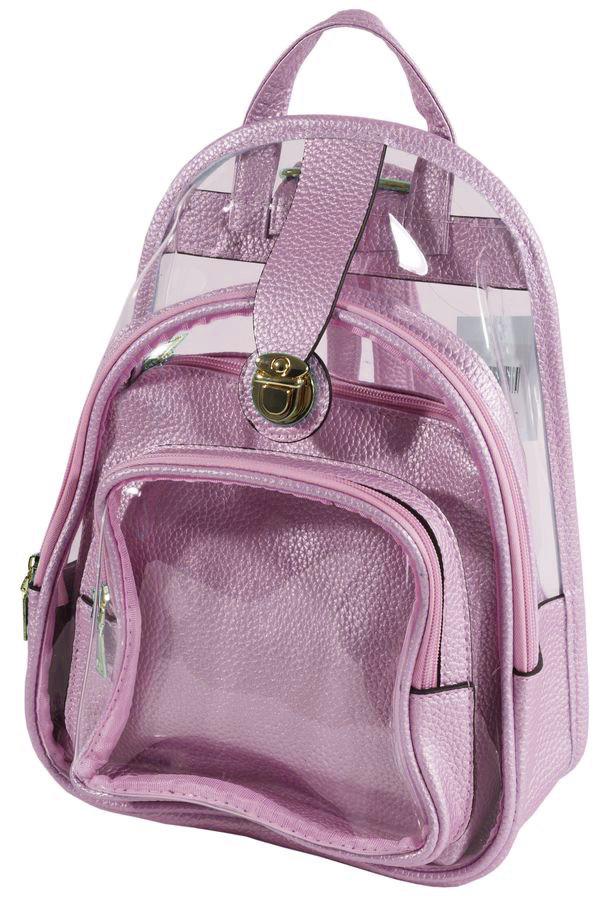 Рюкзак розовый прозрачный ТМВ-261 B 24*33*16, косетичка 22*18*10