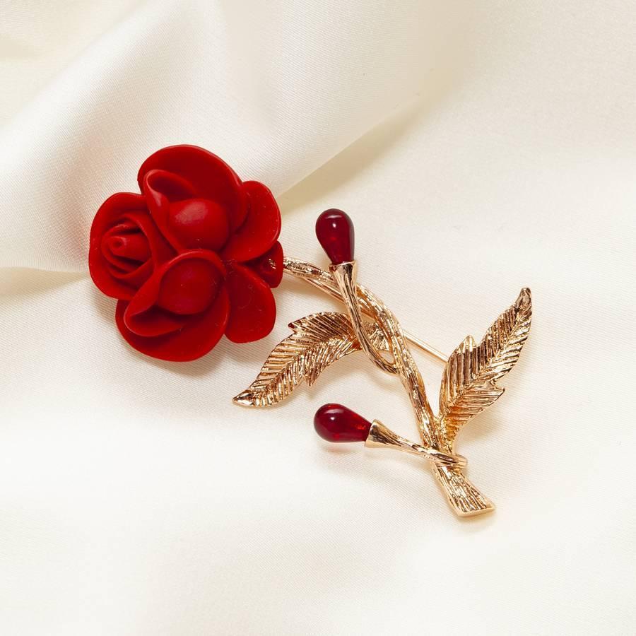 Брошь в виде красной розы 343 KH03  AA, R
