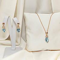 Гарнитур с сердечками и голубыми камнями 881 KH03WJS AE