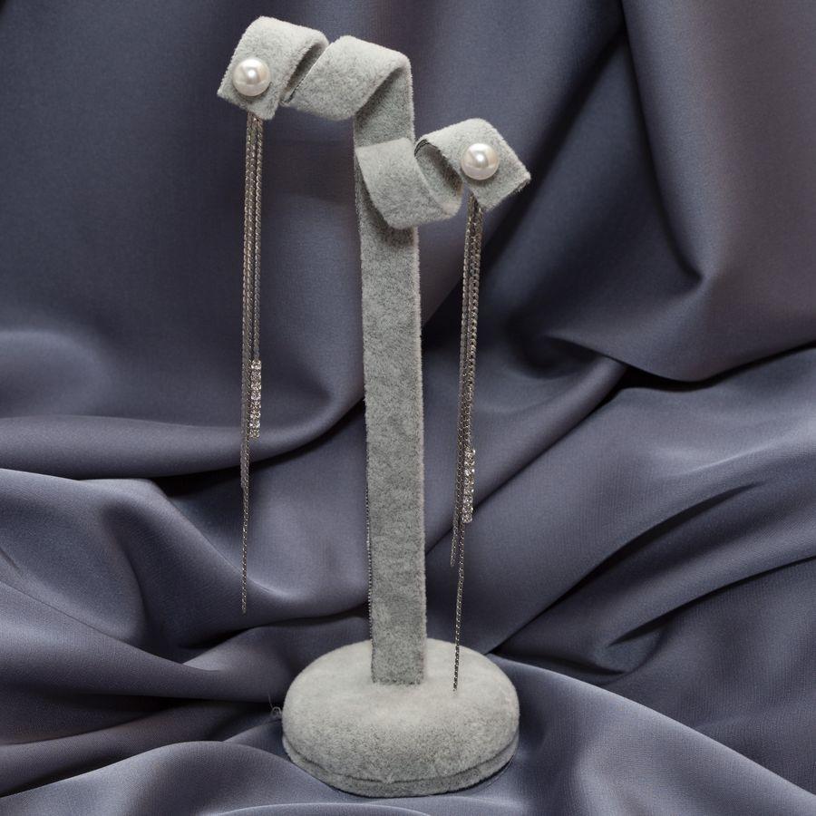 Серьги с длинными подвескамии и жемчугом D 07