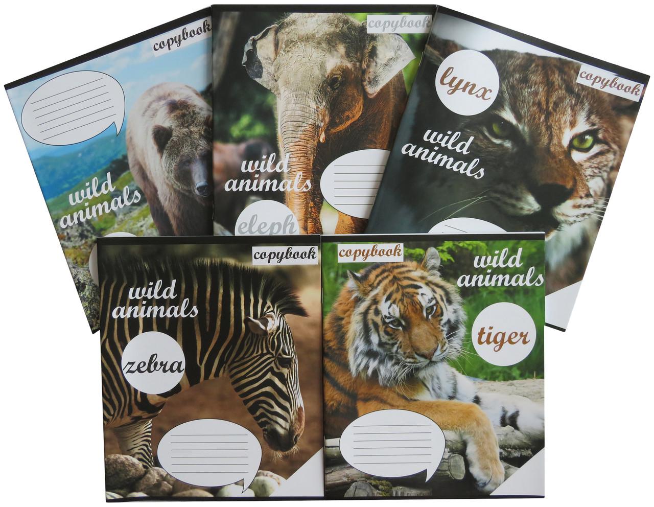 Зошит в клітинку Лідер 36 аркушів, дикі тварини