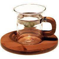 Чашка из стекла с деревянным блюдцем CHI KAO 50 мл