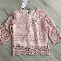 "Школьная ажурная розовая  блузка для девочки ""Асия-3"" (128-152р)"