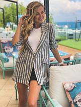 """Льняной женский пиджак в полоску """"CAMPBELL"""" с карманами (2 цвета), фото 2"""
