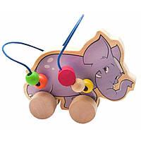 Развивающая игрушка Мир деревянных игрушек Лабиринт-каталка Слон (Д368)