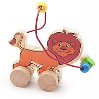 Развивающая игрушка Мир деревянных игрушек Лабиринт-каталка Лев (Д359)