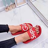 Шлепанцы женские красные с надписью силикон/ резина, фото 3