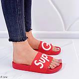 Шлепанцы женские красные с надписью силикон/ резина, фото 2