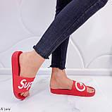 Шлепанцы женские красные с надписью силикон/ резина, фото 4