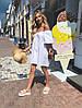"""Хлопковое мини-платье А-силуэта """"AISNE"""" с оголенными плечами (3 цвета), фото 2"""