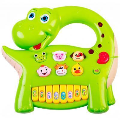 Развивающая игрушка BeBeLino Интерактивная панель Музыкальный динозавр (зеленая), (58090-2)