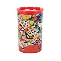 """Точилка с контейнером KUM """"Graffiti"""" пластиковая на 2 отделения, Красная"""