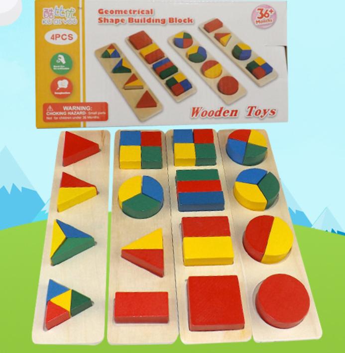 Деревянные геометрические формы  набор 4 в 1