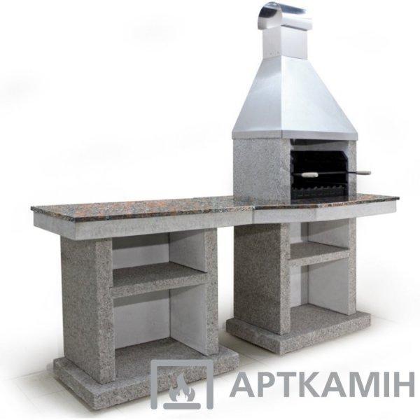 Барбекю Stimlex Tiana L комплект (бетон Light, столешница Bordo, купол нерж. сталь)