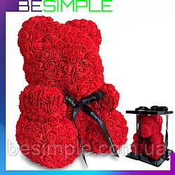 Мишко з троянд 25 см в подарунковій упаковці / Ведмедик з квітів