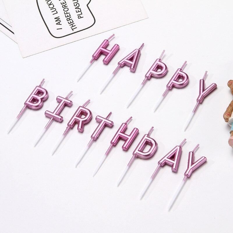 """Свічки в торт хром напис """"З Днем народження"""", лаванда, англ, Набор свечей в торт """"Happy Birthday"""""""