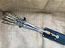"""Шампура подарочные с бронзовыми ручками """"Щука"""" с вилкой для снятия мяса, в кожаном колчане, фото 2"""