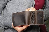 Стильный мужской коричневый кошелек в этническом стиле, ручная работа