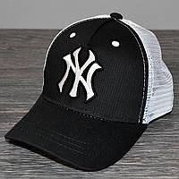 Кепка (бейсболка) летняя + NY черная-белая сеточка