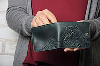 Стильный кожаный кошелек ручной работы с авторским тиснением, фото 1