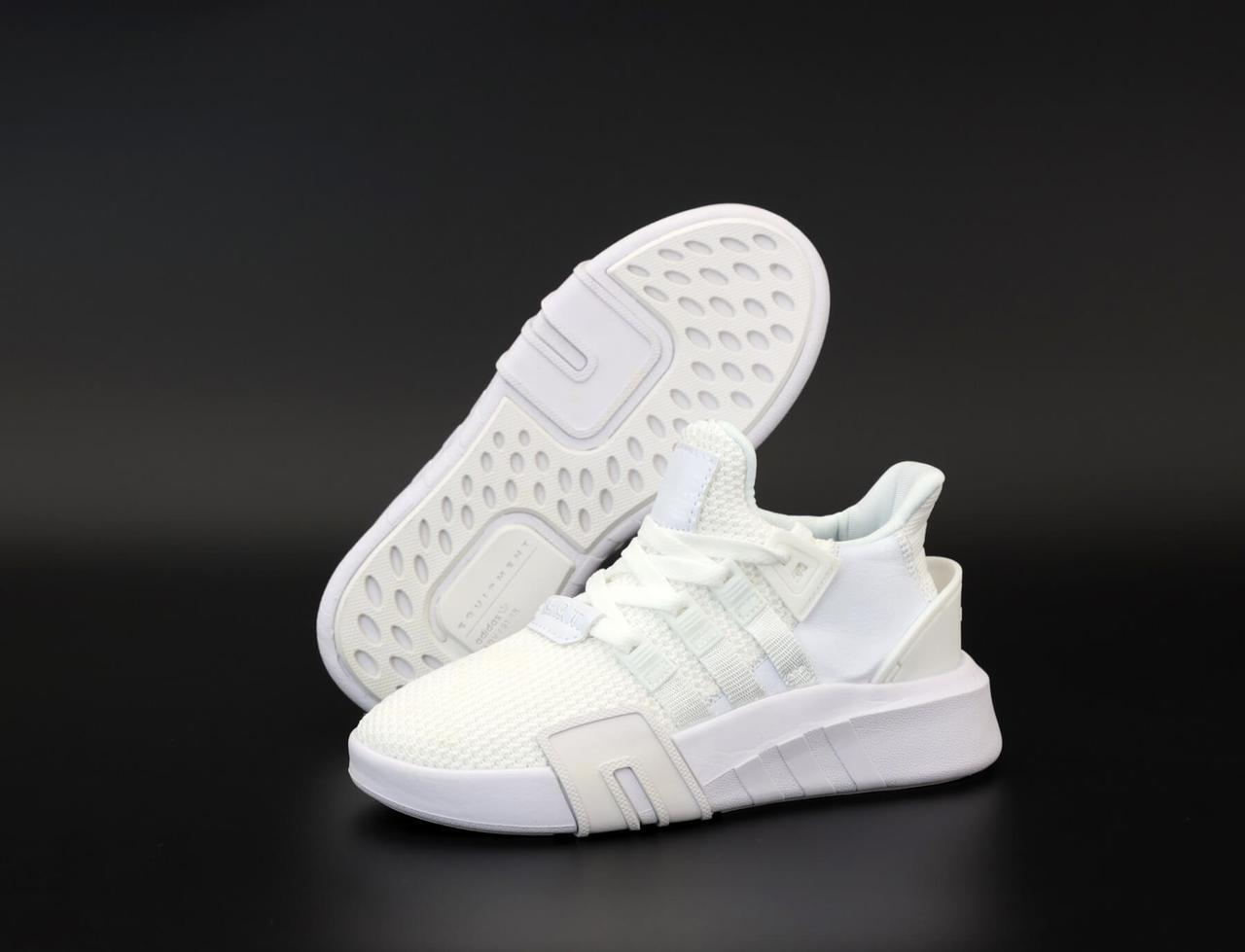 Женские кроссовки Adidas EQT ADV Gazelle Triple White (Адидас ЕКТ белого цвета весна/лето)