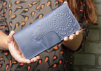 Кожаный кошелек ручной работы, качественный клатч-кошелек, синий кошелек с авторским тиснением, фото 1