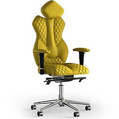 Кресло KULIK SYSTEM ROYAL Экокожа с подголовником со строчкой Желтый 5-901-WS-MC-0211, КОД: 1692645