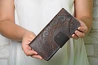 Кожаный кошелек ручной работы, коричневый кошелек c тисненым орнаментом