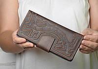 Тёмно-коричневый кожаный кошелек ручной работы, фото 1