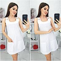 N186 Летнее платье сарафан белое/ белого цвета, фото 1