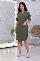 А485/1  Летнее платье с карманами хаки