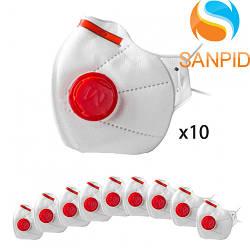 Маска респиратор защитная Микрон FFP3 с клапаном (комплект 10шт.)
